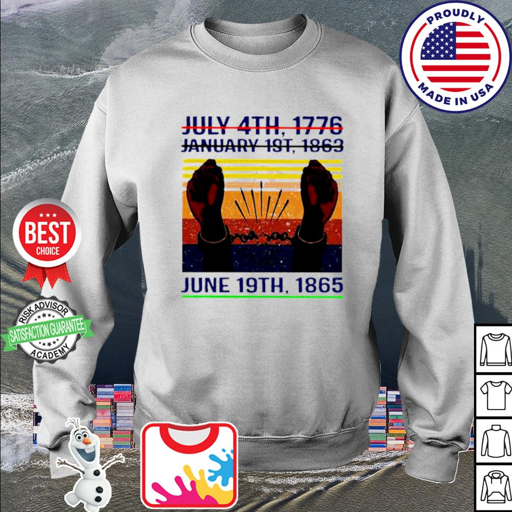 July 4th 1776 January 1st 1963 June 19th 1985 Vintage Shirt sweater