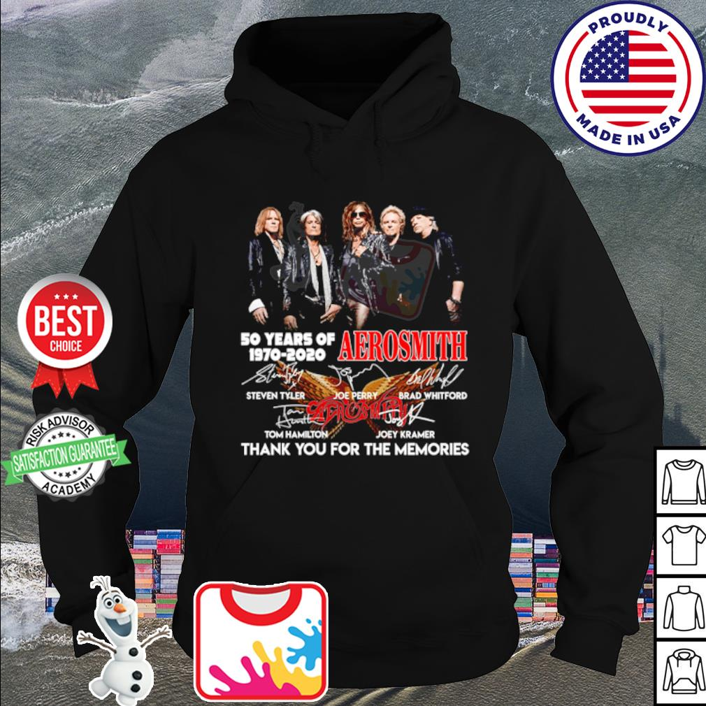 50 years of Aerosmith 1970 2020 thank you for the memories signature s hoodie