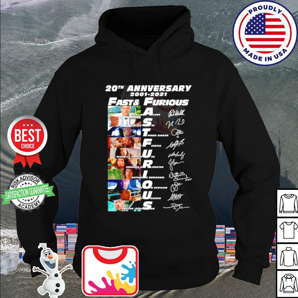 20th anniversary 2001 2020 Fast and Furious signature s hoodie