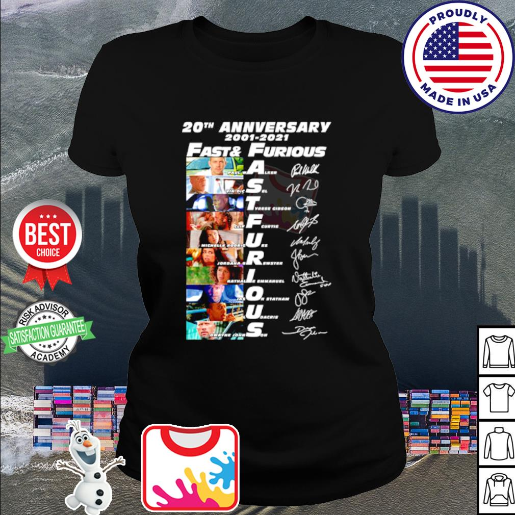 20th anniversary 2001 2020 Fast and Furious signature s ladies tee