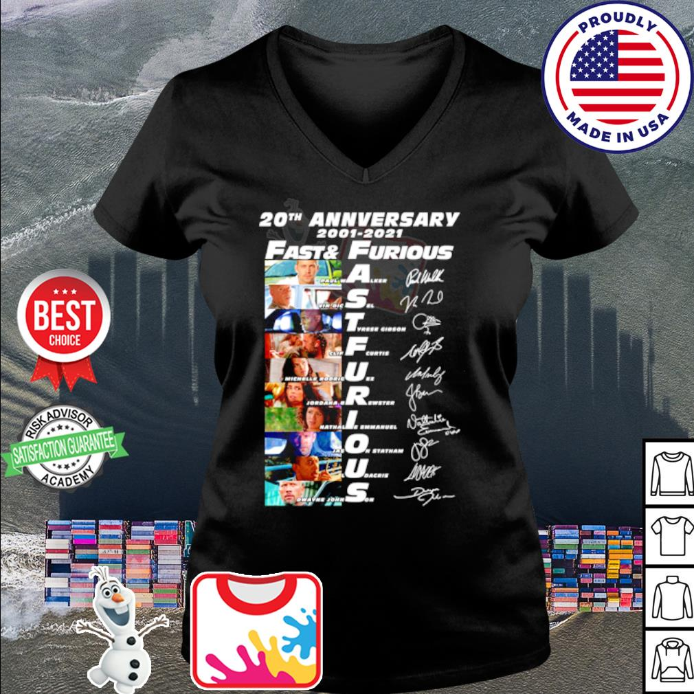 20th anniversary 2001 2020 Fast and Furious signature s v-neck t-shirt