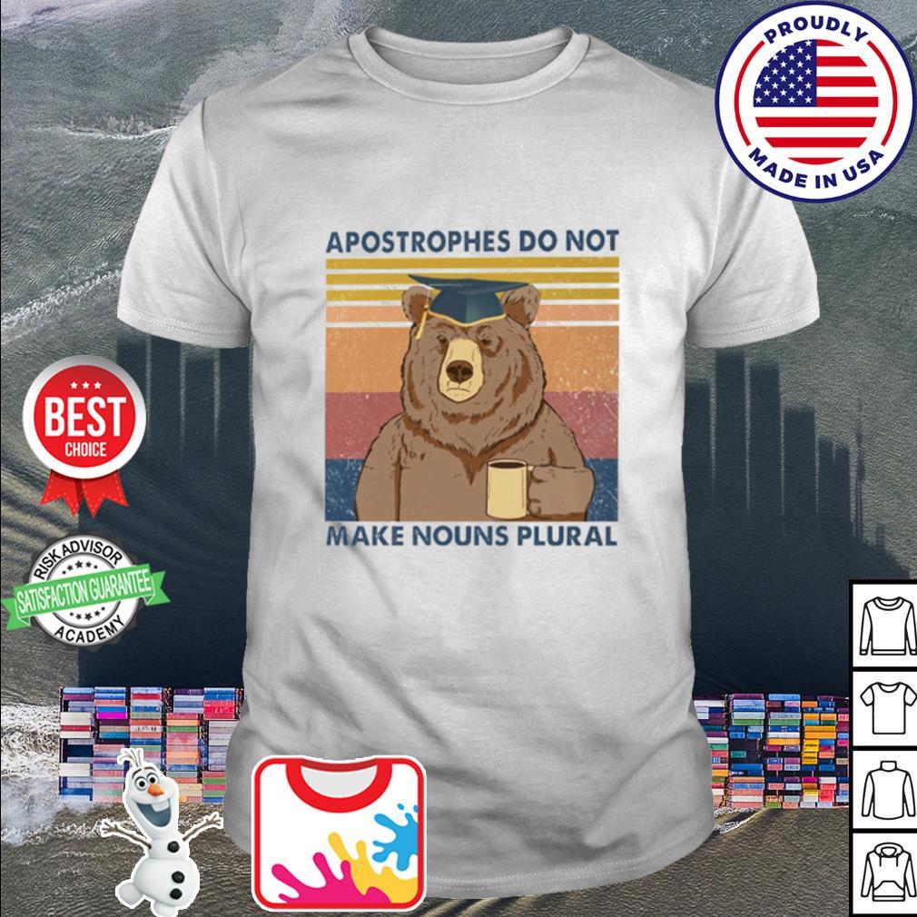 Bear apostrophes do not make nouns plural vintage retro shirt