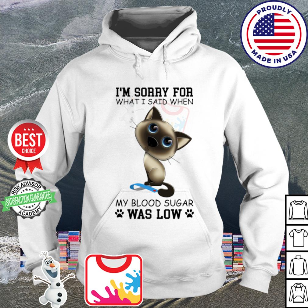 Cat i'm sorry for what i said when my blood sugar was low s hoodie