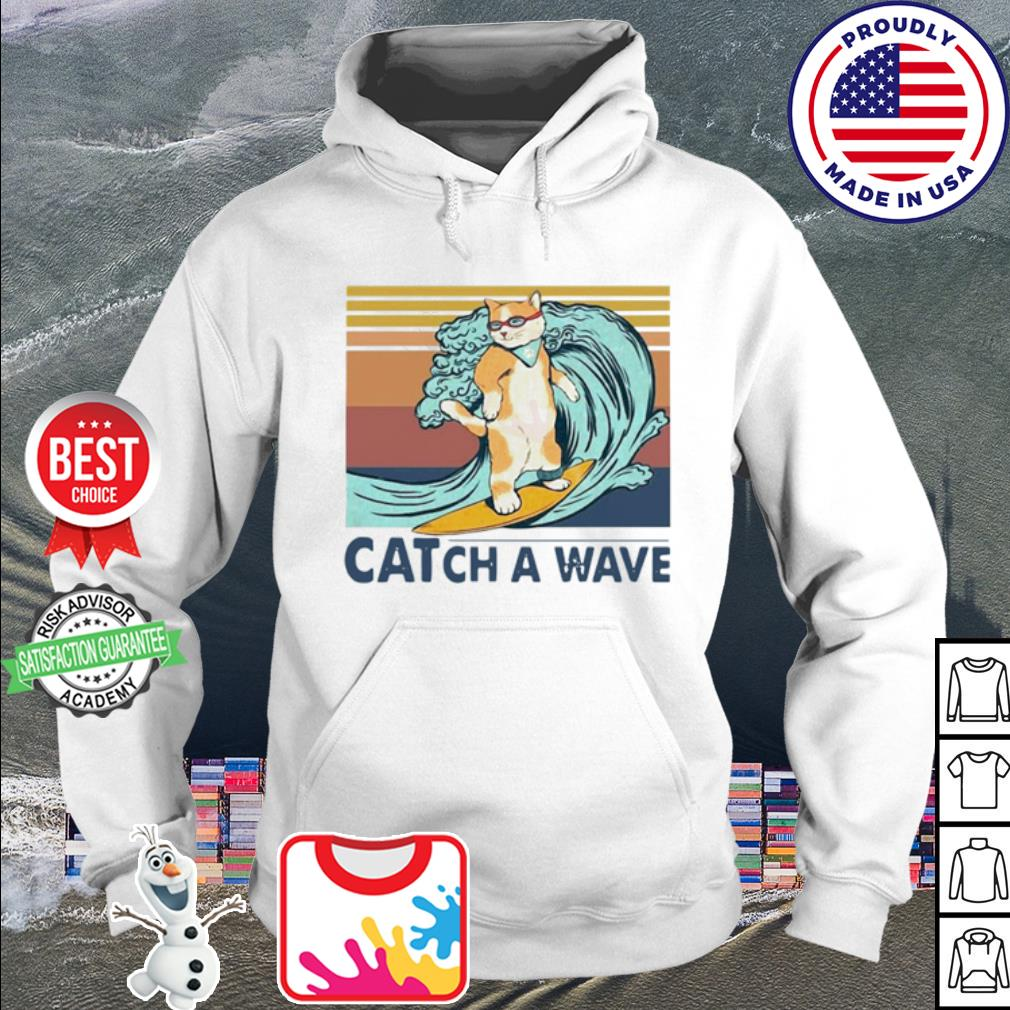 Cat surfing catch a wave vintage s hoodie