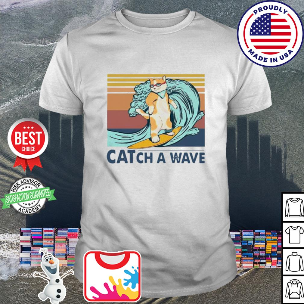 Cat surfing catch a wave vintage shirt
