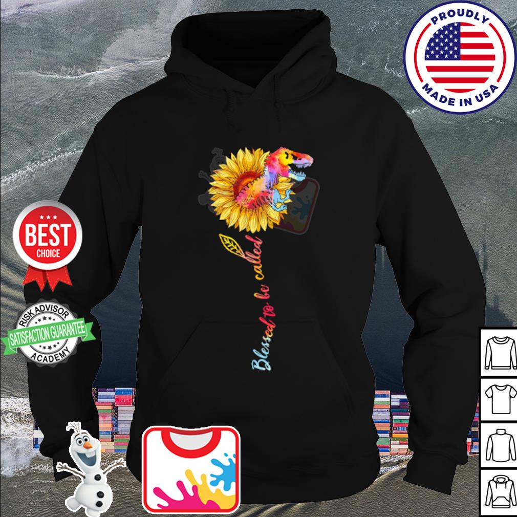 Dinosaur and sunflower watercolor blessed to be called s hoodie