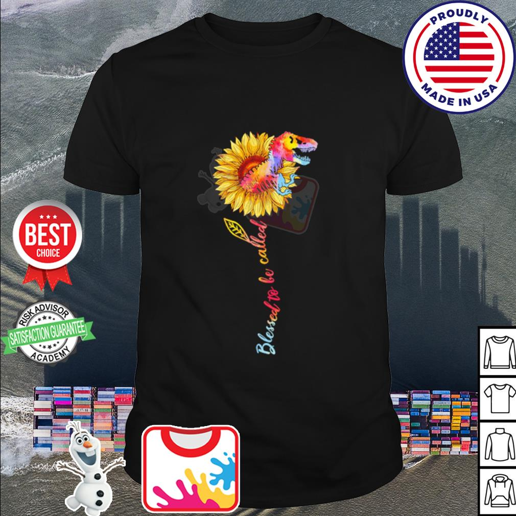 Dinosaur and sunflower watercolor blessed to be called shirt