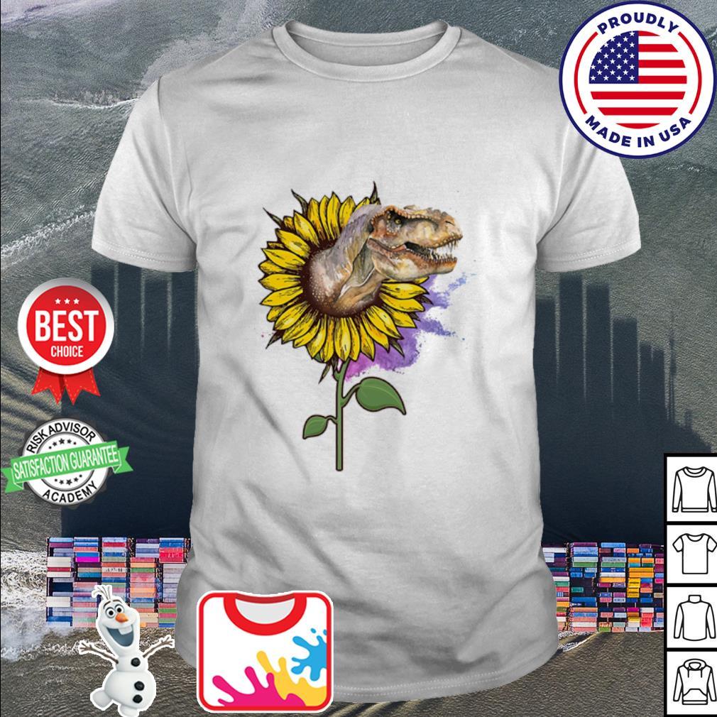 Dinosaur out sunflower watercolor shirt