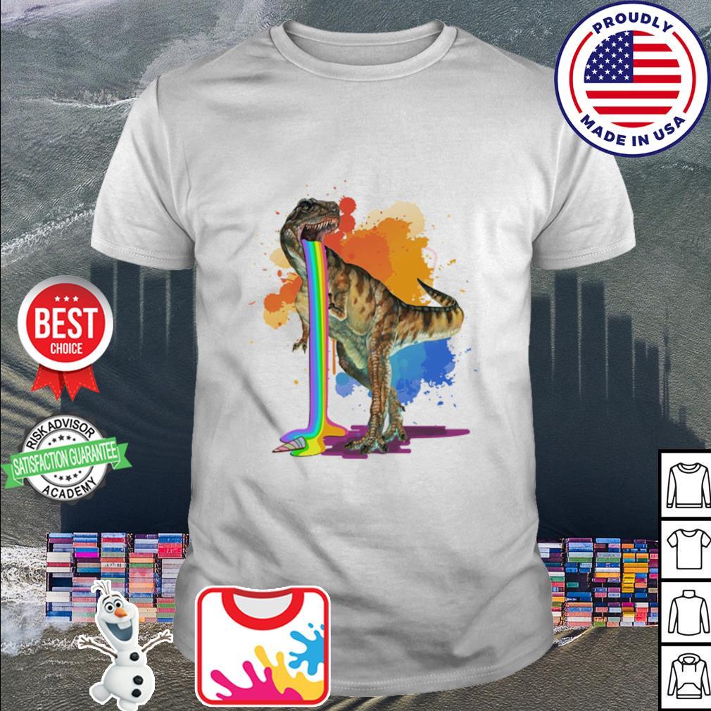 Dinosaur vomit rainbow watercolor shirt