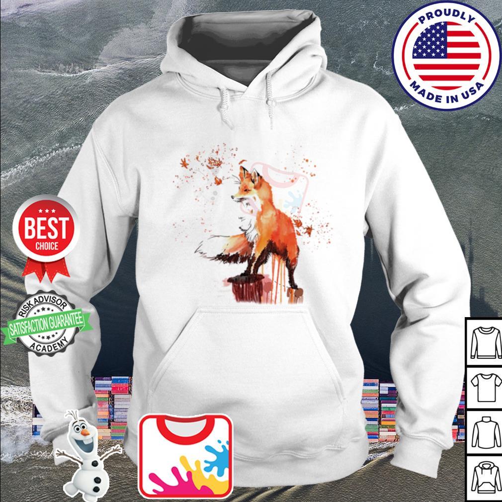 fox watercolor s hoodie