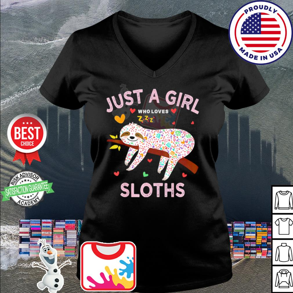 Funny Just a girl who loves sloths s v-neck t-shirt