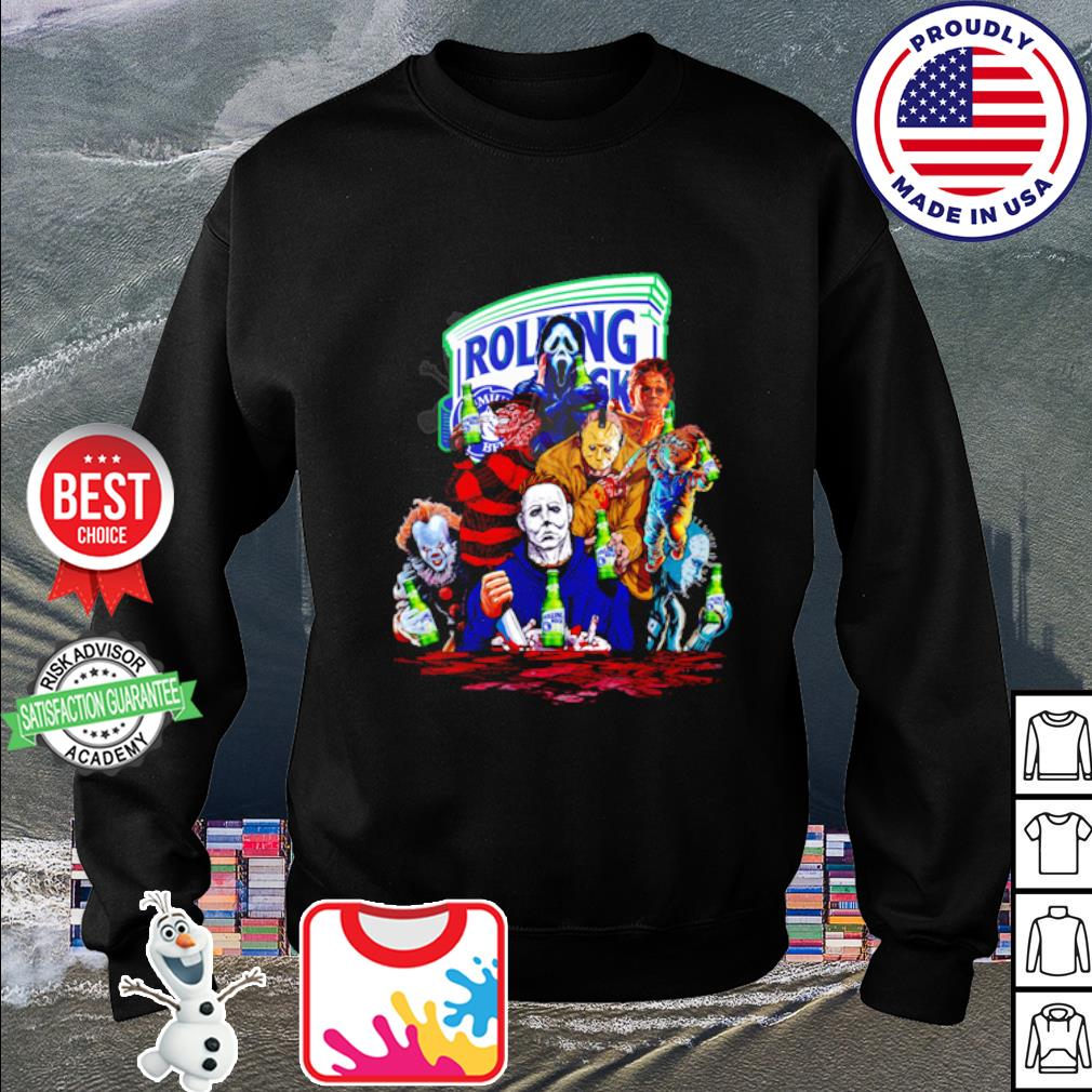 Horror Characters drink Rolling Rock Extra Pale s sweater