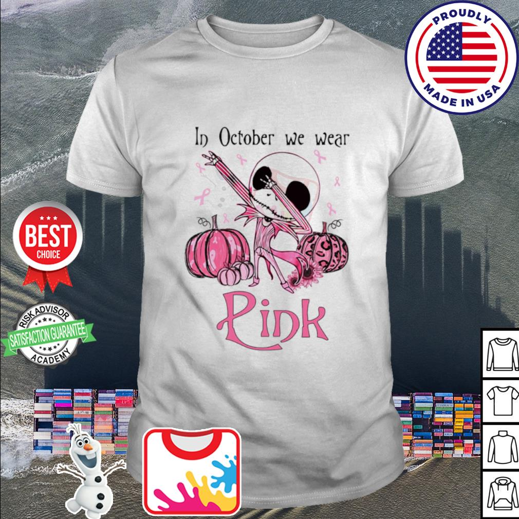 Jack Skellington dabbing In October we wear pink shirt