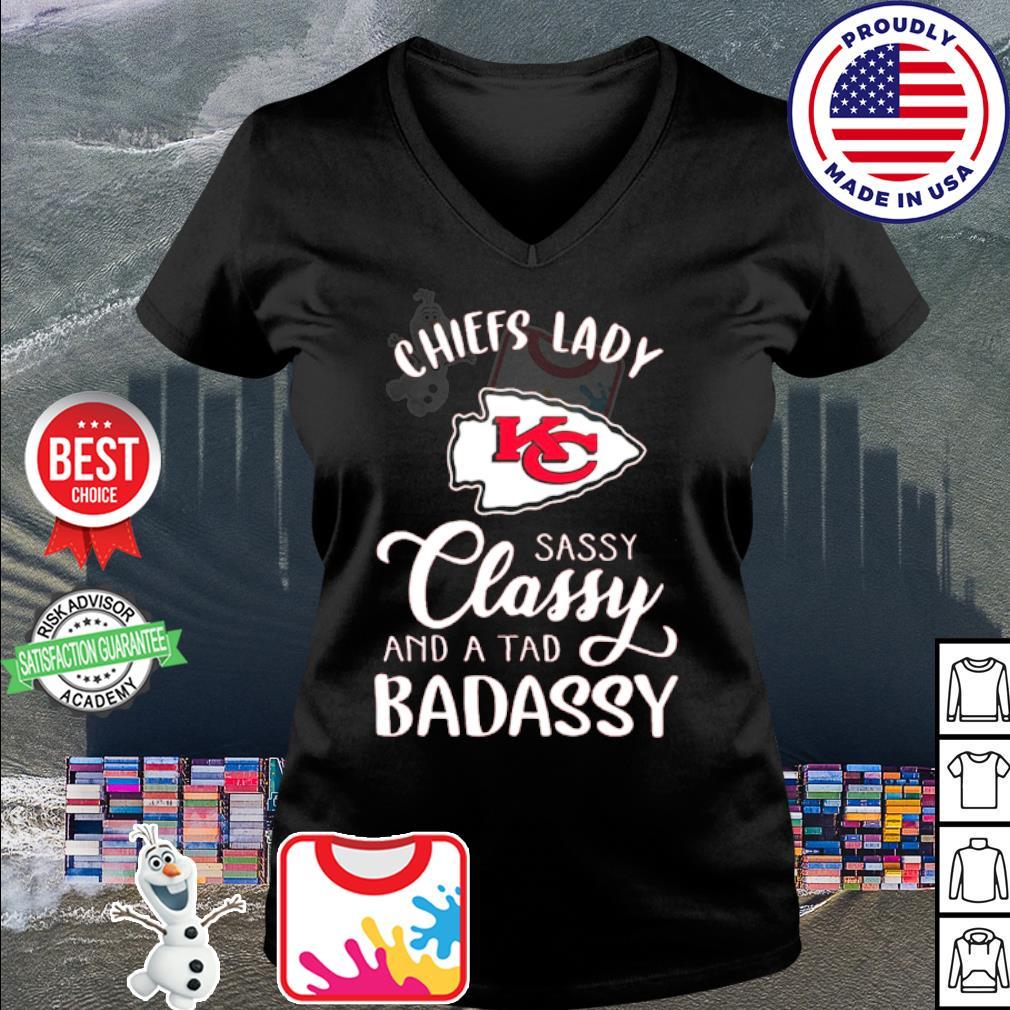 Kansas City Chiefs lady sassy classy and a tad badassy s v-neck t-shirt
