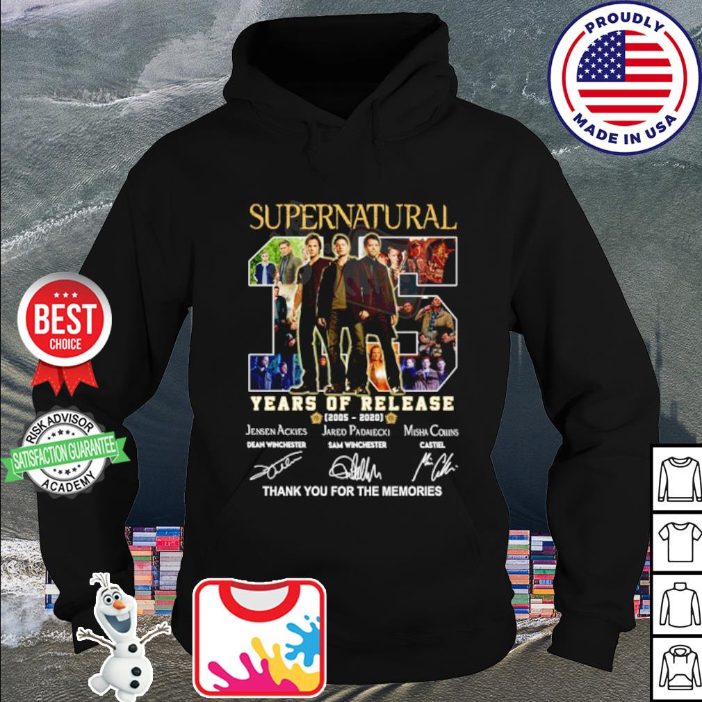 Supernatural 15 years of release 2005 2020 thank you for the memories s hoodie