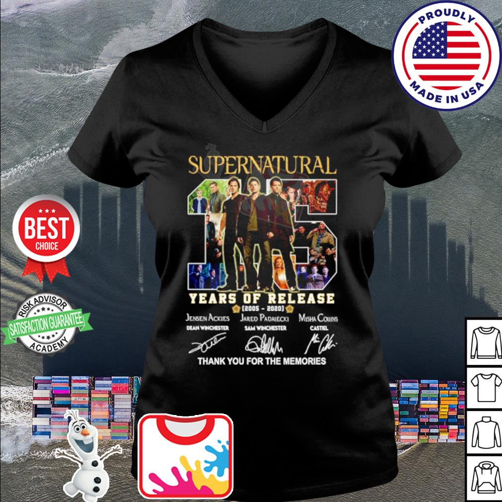 Supernatural 15 years of release 2005 2020 thank you for the memories s v-neck t-shirt