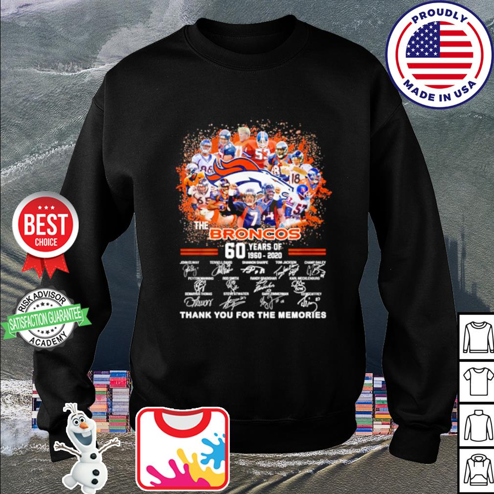 The Denver Broncos 60 years of 1960 2020 thank you for the memories s sweater