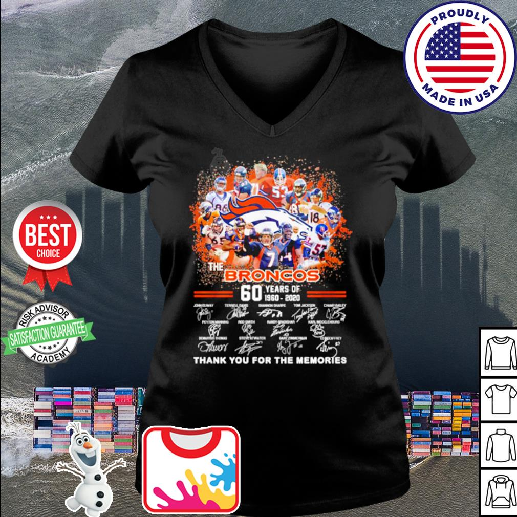 The Denver Broncos 60 years of 1960 2020 thank you for the memories s v-neck t-shirt