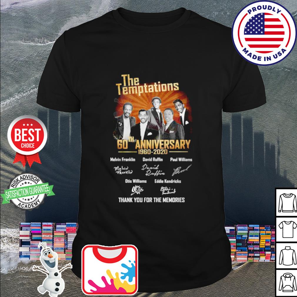 The Temptations 60th anniversary 1960 2020 thank you for the memories shirt
