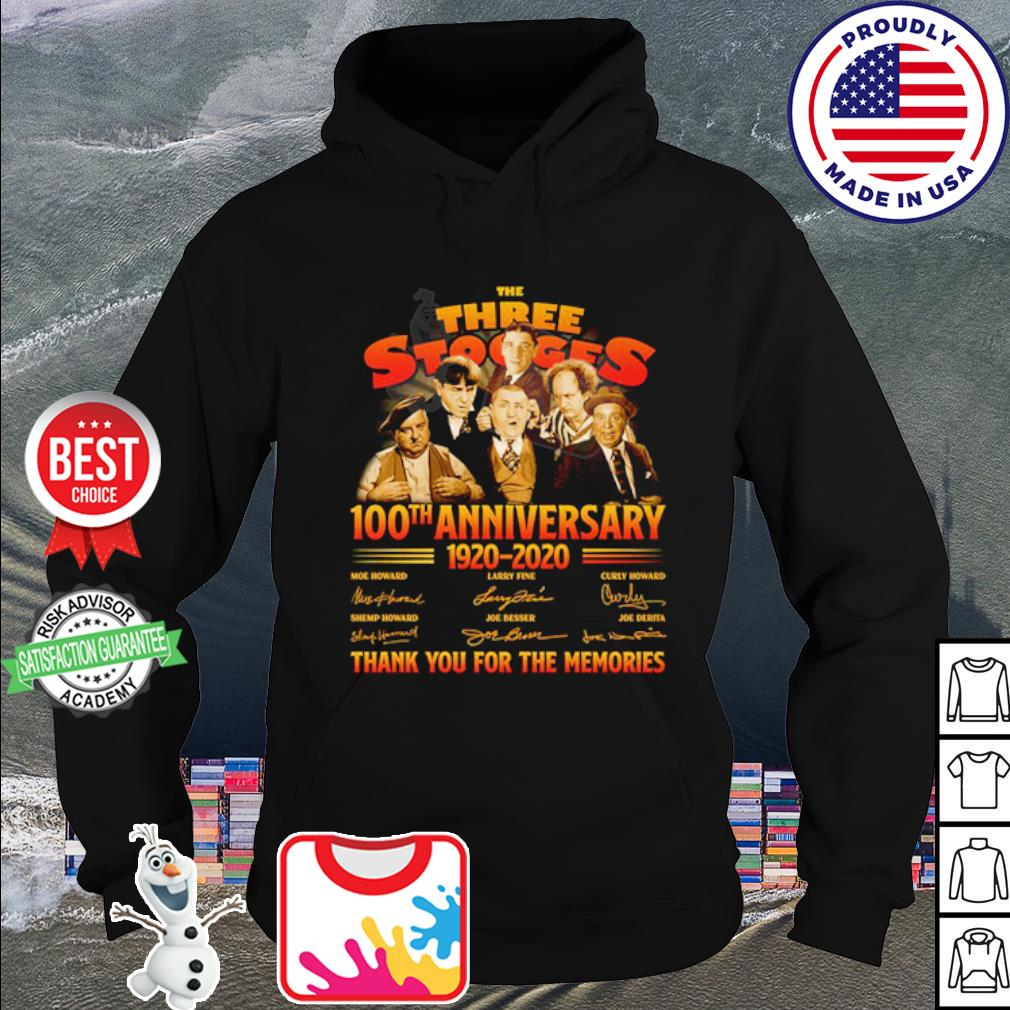 The Three Stooges 100th anniversary 1920 2020 thank you for the memories s hoodie