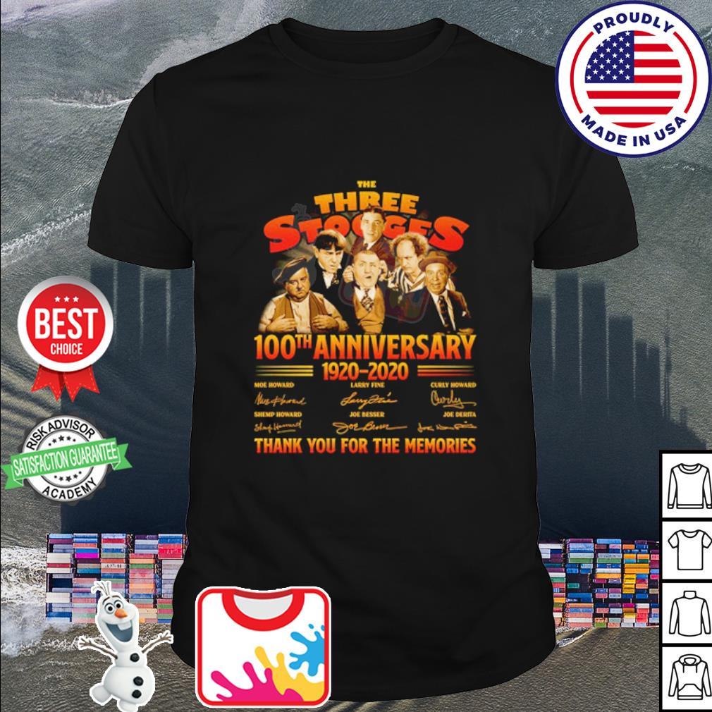 The Three Stooges 100th anniversary 1920 2020 thank you for the memories shirt