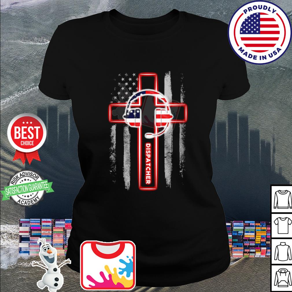 American flag Headphone Dispatcher s ladies tee