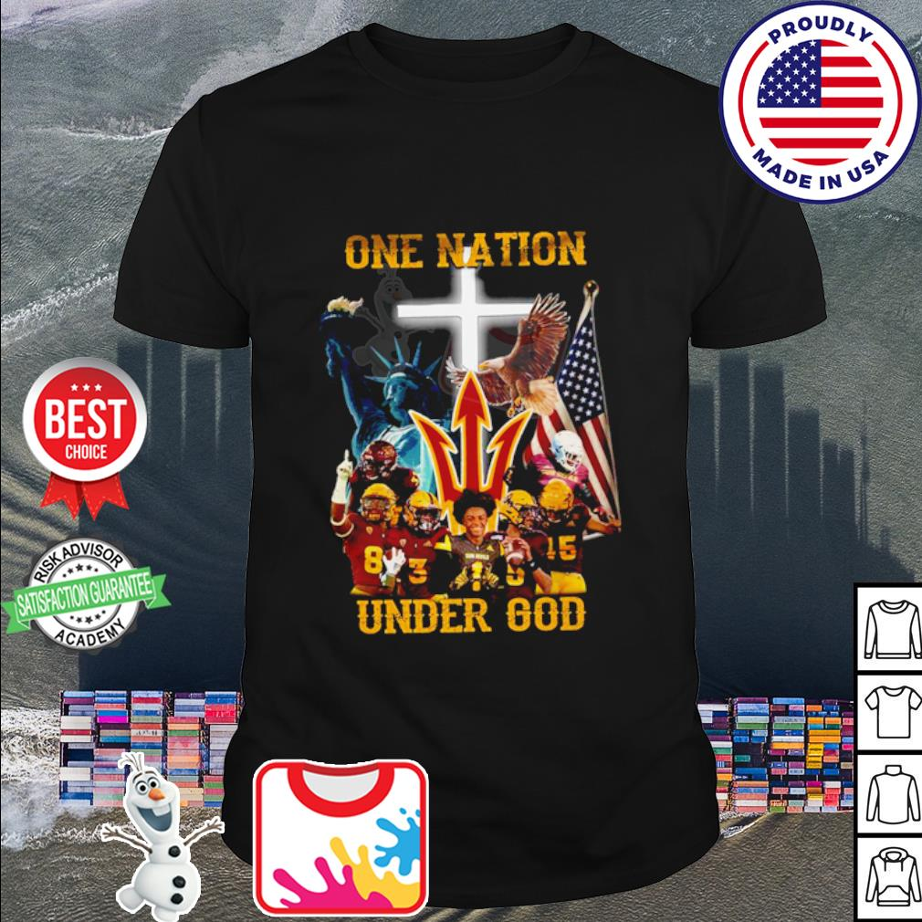Arizona State Sun Devils one nation under god American falg shirt