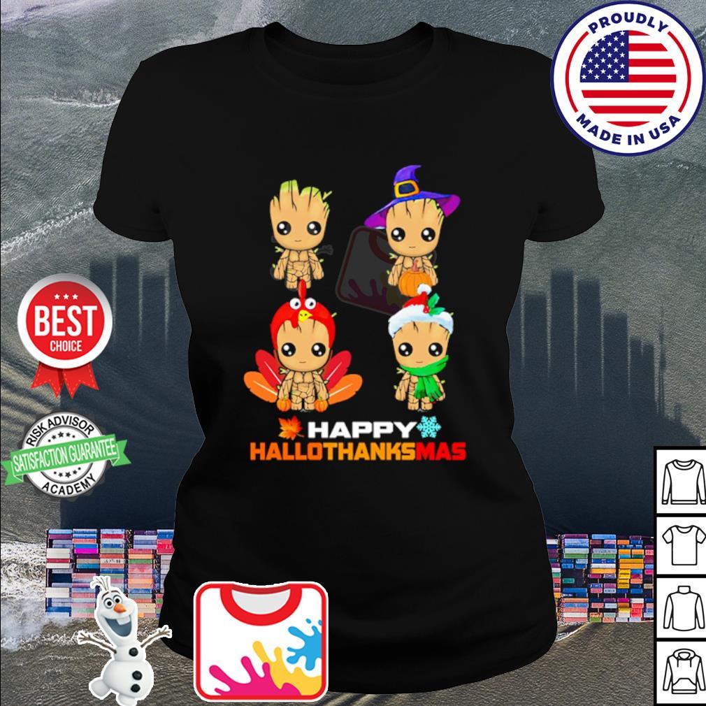 Baby Groot Happy Hallothanksmas s ladies tee