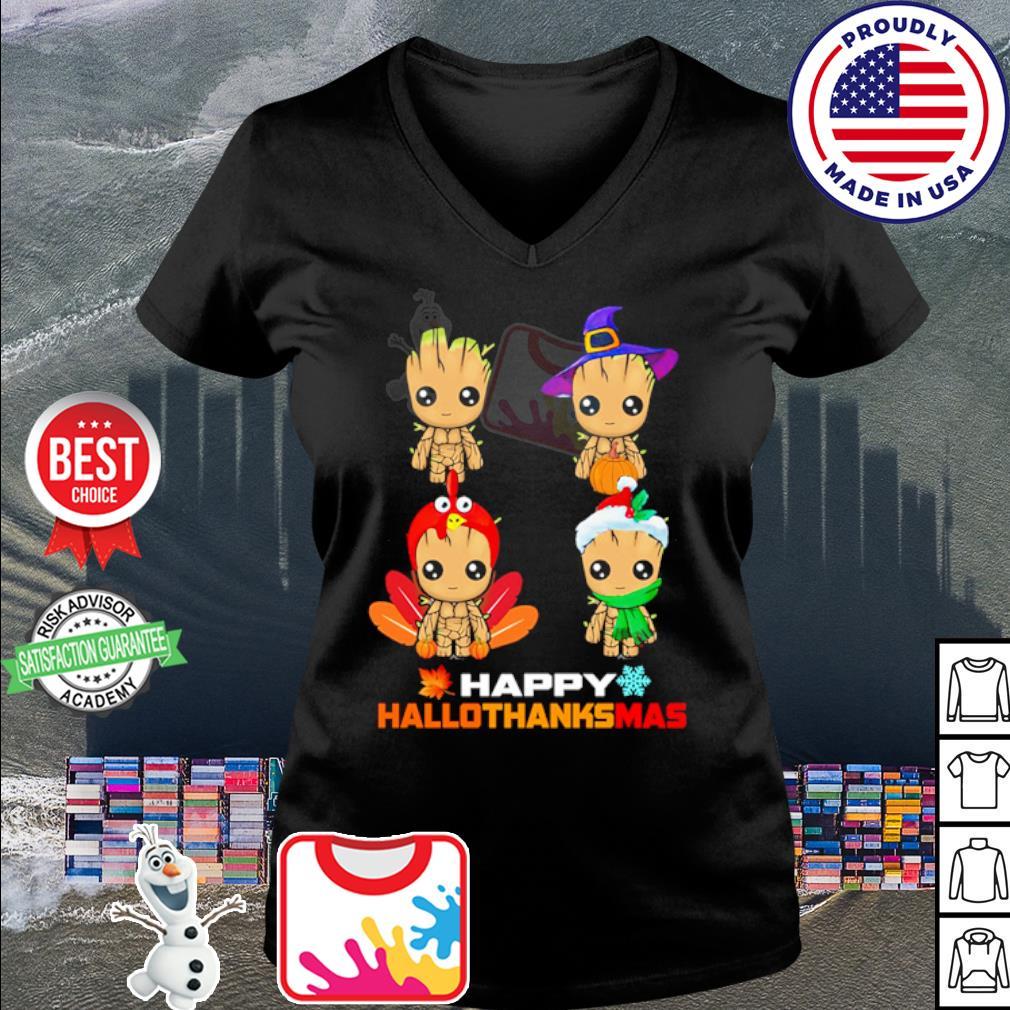 Baby Groot Happy Hallothanksmas s v-neck t-shirt
