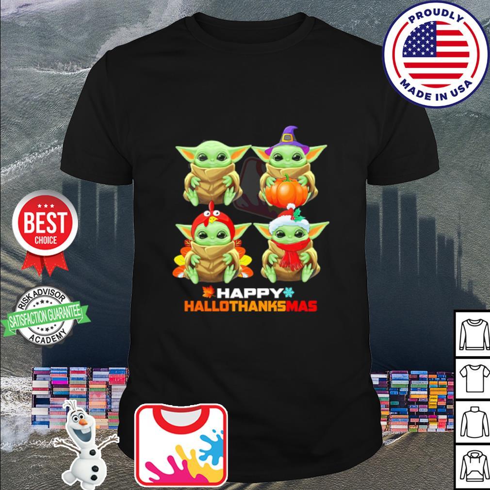 Baby Yoda Merry Christmas Happy Hallothanksmas shirt