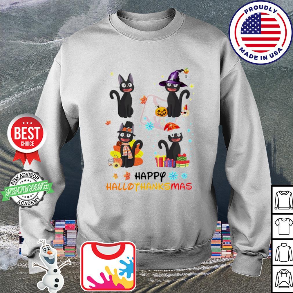 Black Cat Happy Hallothanksmas Christmas s sweater