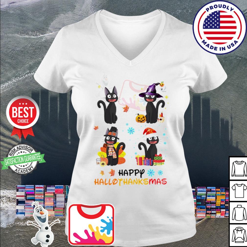 Black Cat Happy Hallothanksmas Christmas s v-neck t-shirt