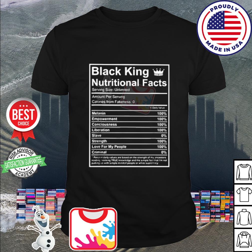 Black King nutrional dacts shirt