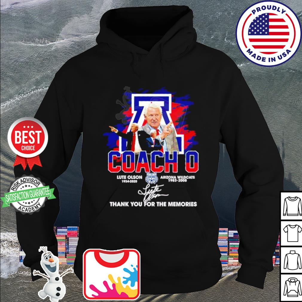 Coach O Lute olson Arizona wildcats thank you for the memories signature s hoodie