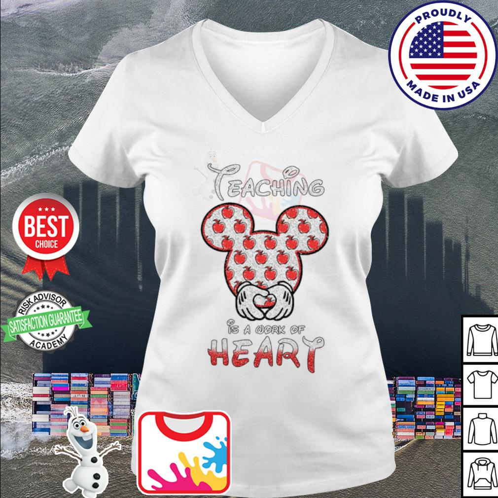Disney Mickey Teaching is a work of heart Apple s v-neck t-shirt