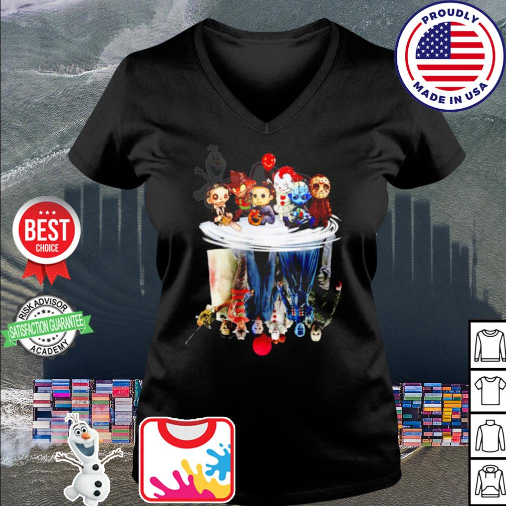 Halloween Horror Movies Characters Chibi water reflection mirror s v-neck t-shirt