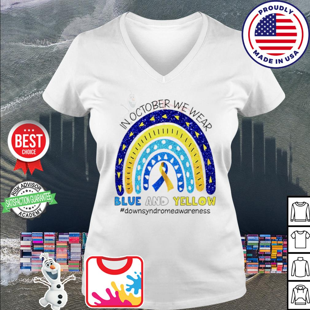 In October we wear blue and yellow #Downsyndromeawareness Shirt v-neck t-shirt