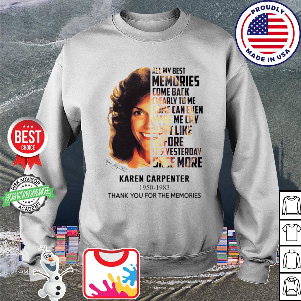 Karen Carpenter 1950 1983 thank you for the memories signature s sweater