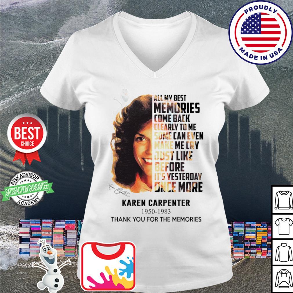 Karen Carpenter 1950 1983 thank you for the memories signature s v-neck t-shirt