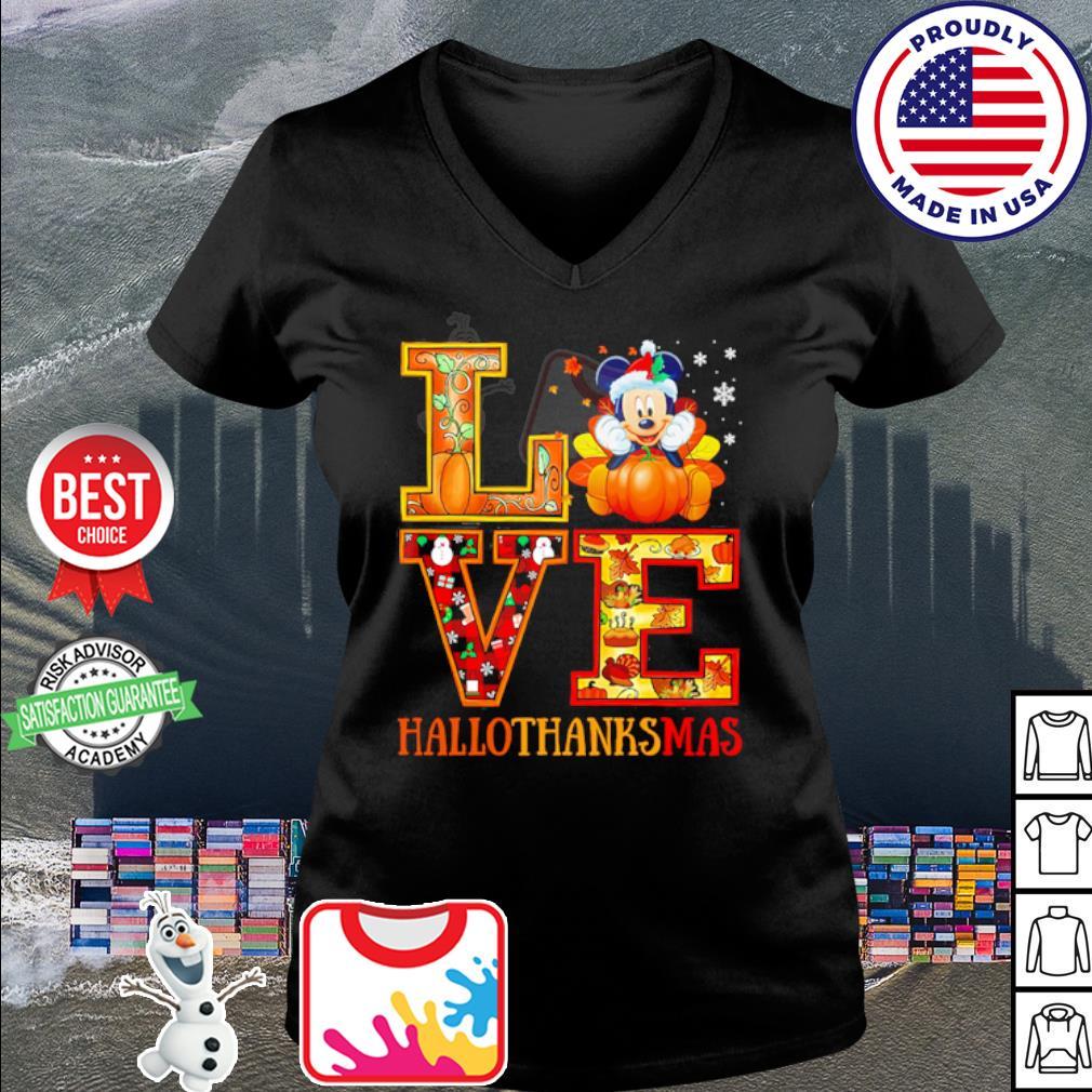 Mickey Mouse Hallothanksmas Merry Christmas s v-neck t-shirt