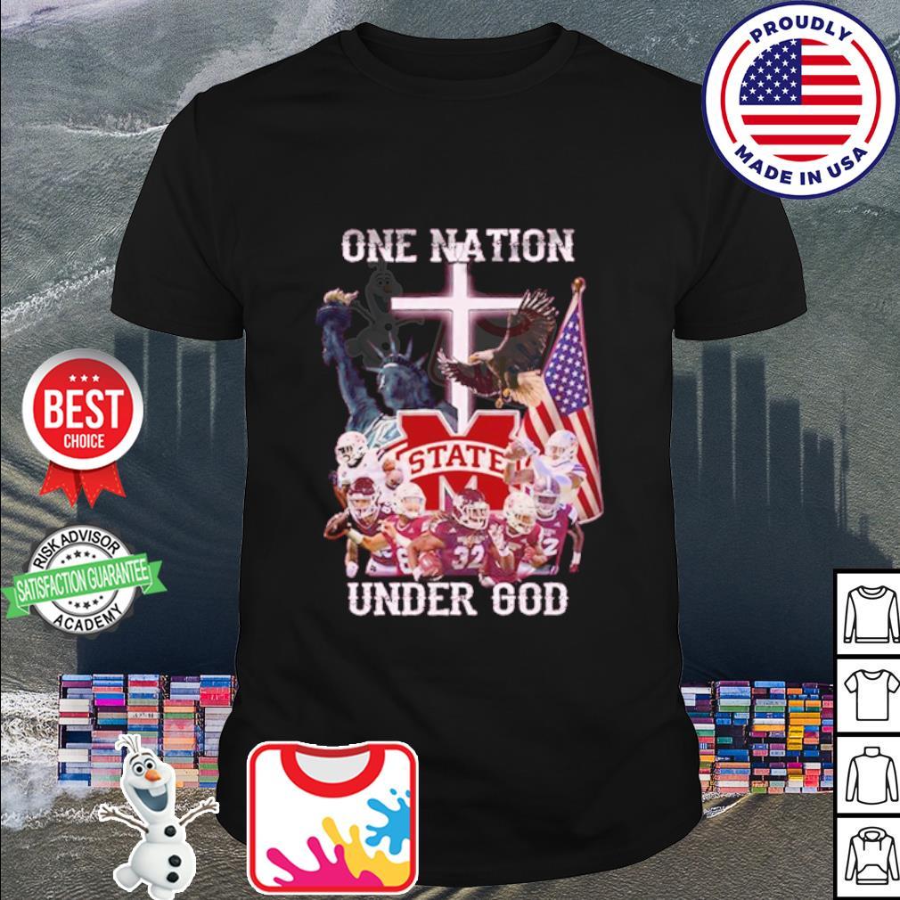 Mississippi State Bulldogs one nation under god American falg shirt
