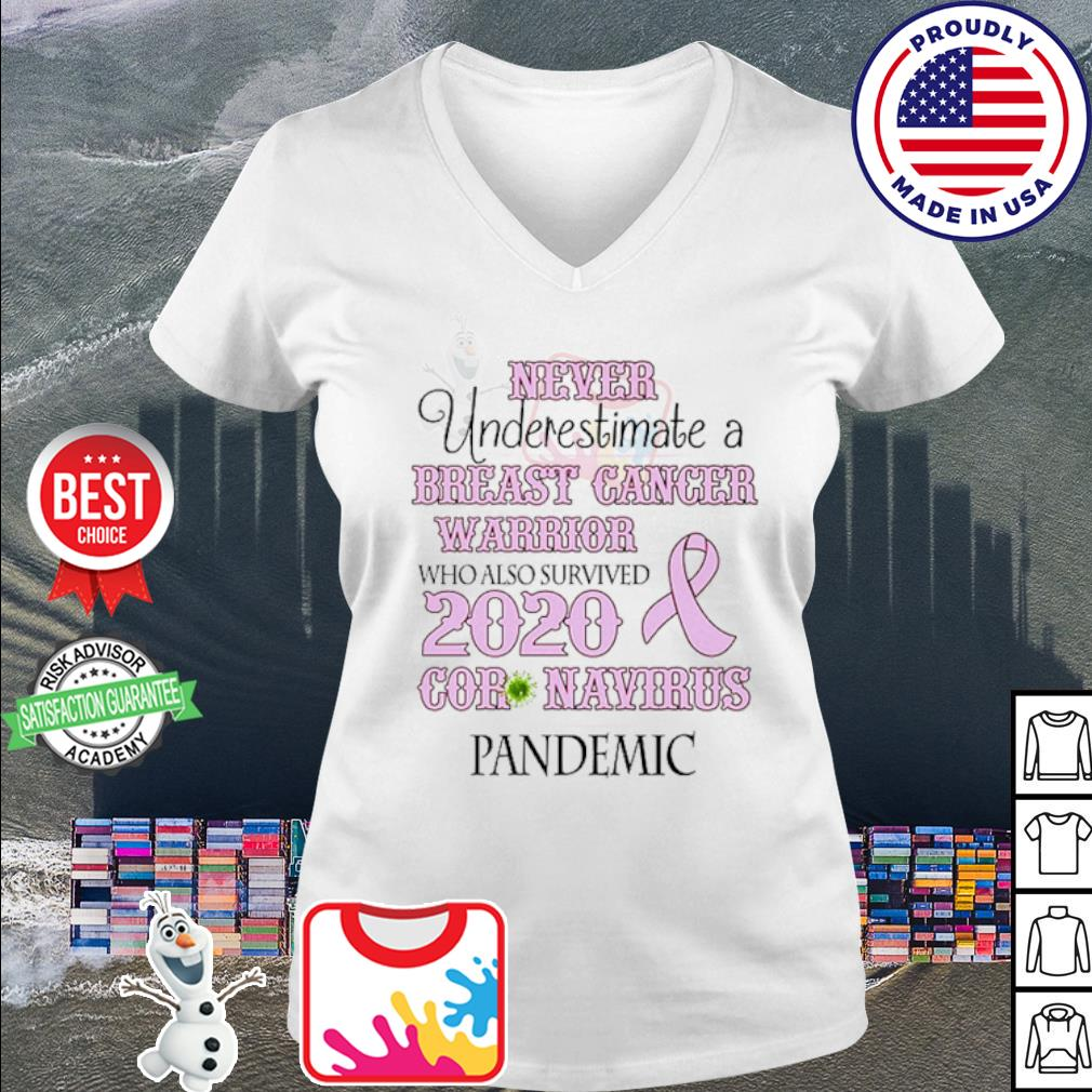 Never underestimate a breast cancer warrior who also survived 2020 Coronavirus s v-neck t-shirt