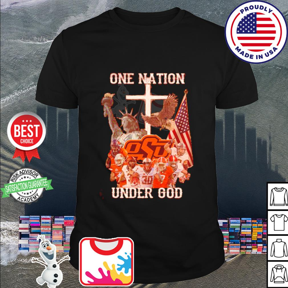 Oklahoma State Cowboys one nation under god American falg shirt