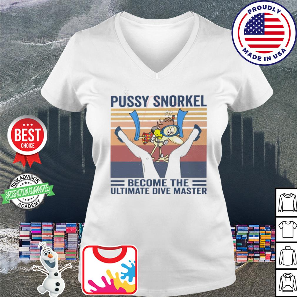 Pusy snorkel become the ultimate dive master vintage s v-neck t-shirt
