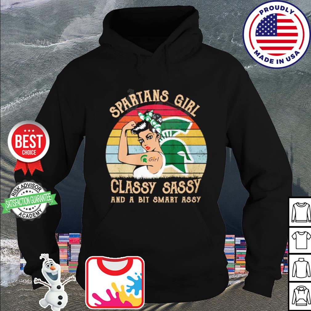 Spartans girl classy sassy and a bit smart assy vintage s hoodie