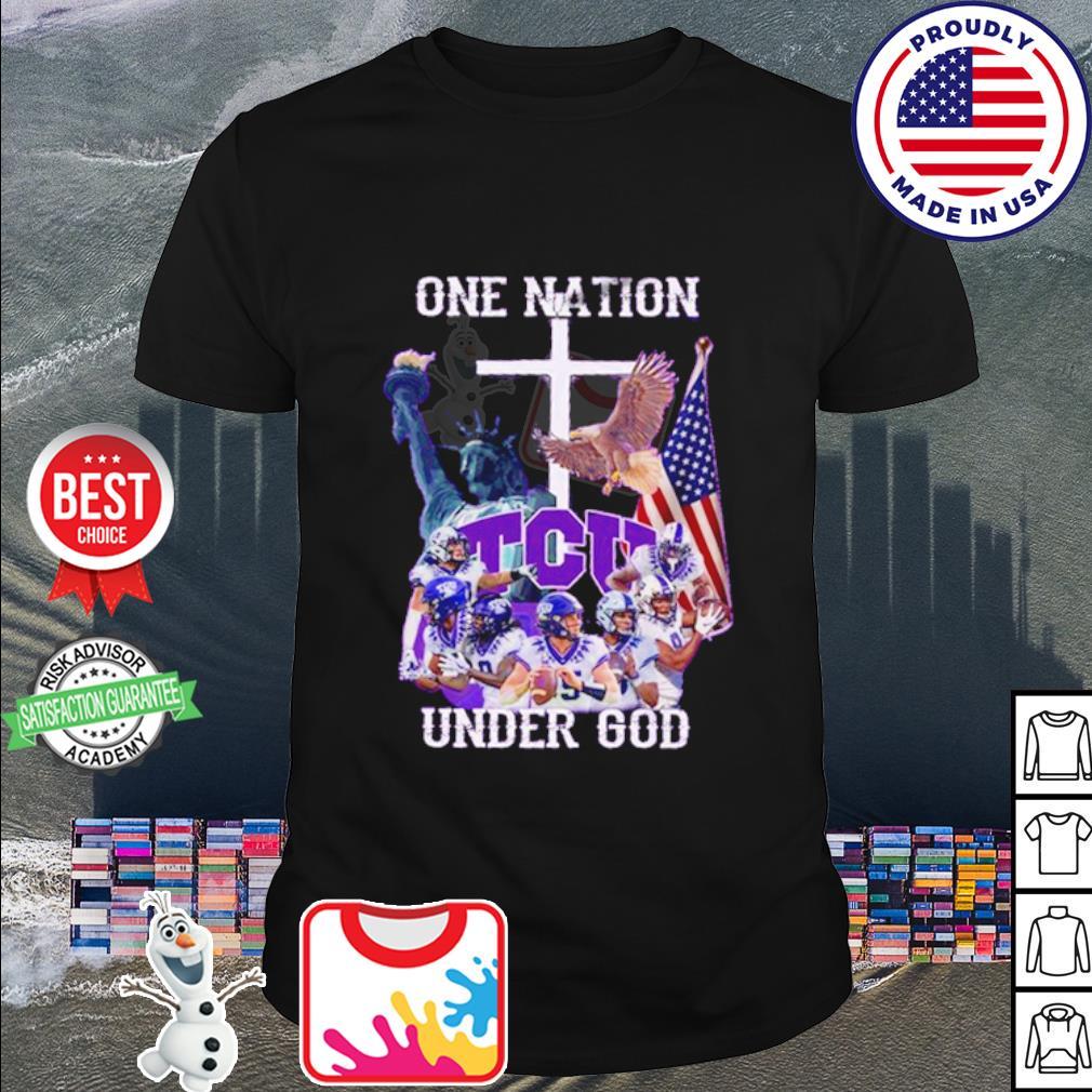 TCU Horned Frogs one nation under god American falg shirt