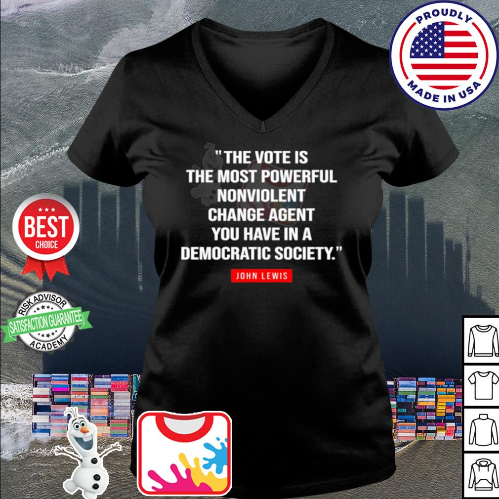 The vote is the most powerful nonviolent change agent s v-neck t-shirt