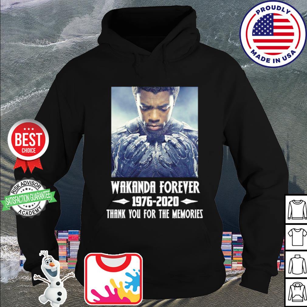 Wakanda forever Black Panther 1976-2020 thank you for the memories s hoodie