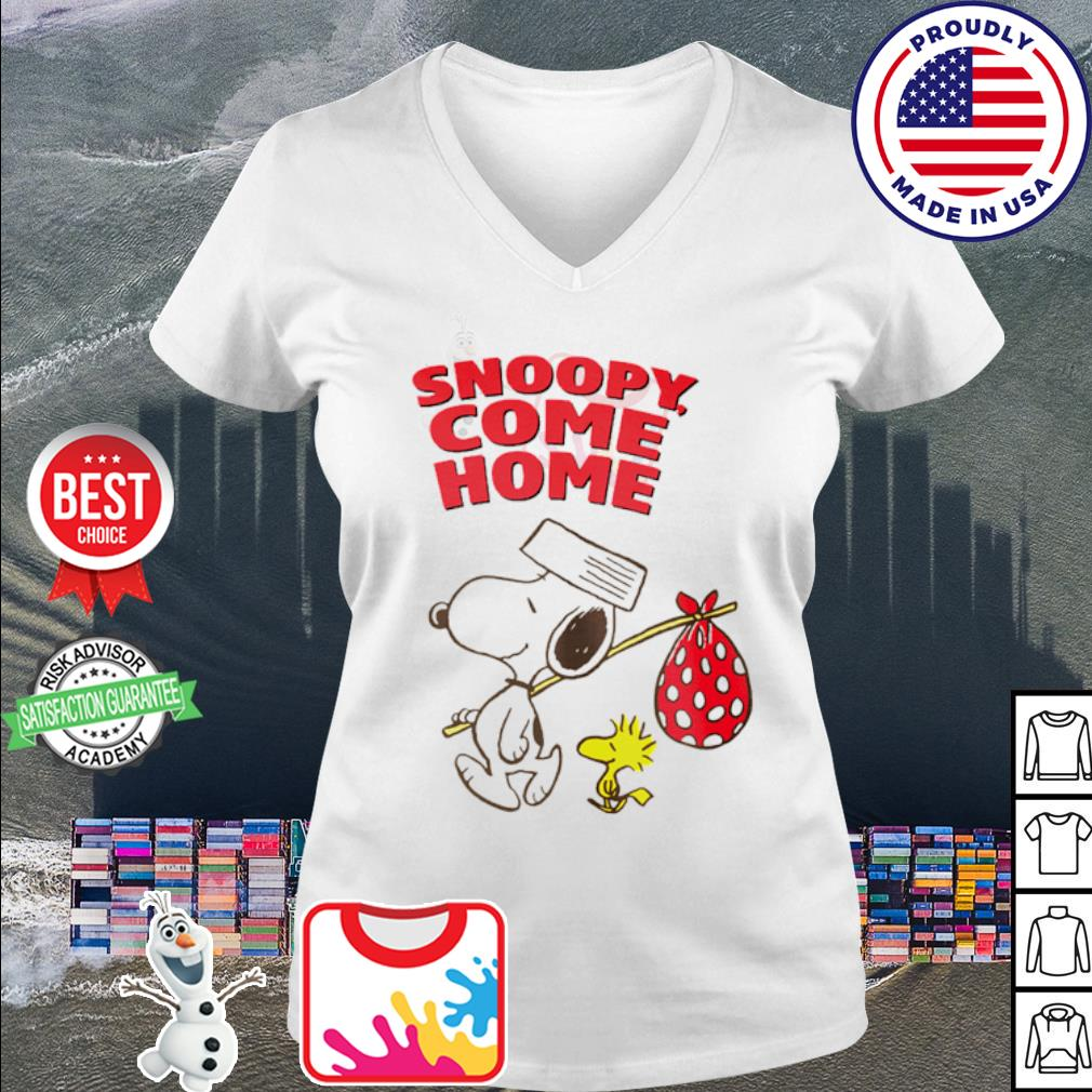 Woodstock and Snoopy come home s v-neck t-shirt
