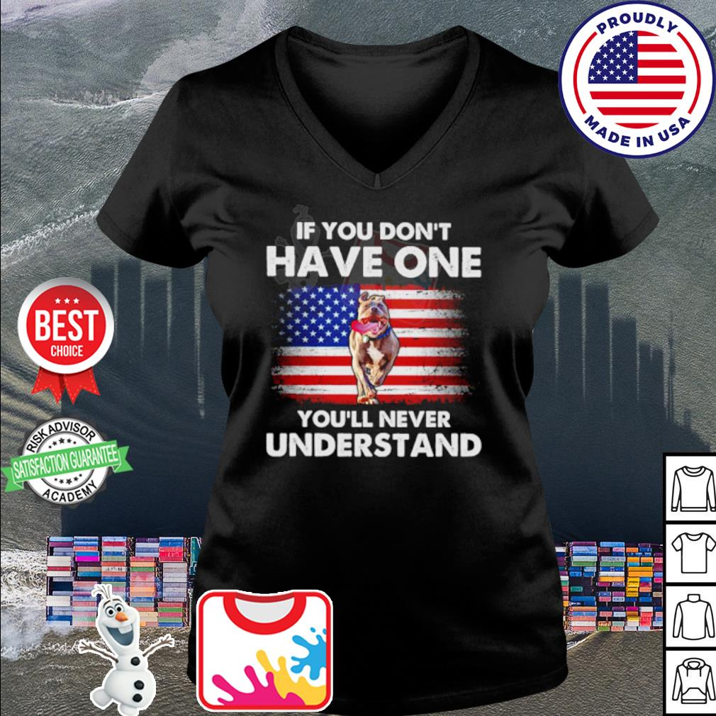 American Flag Pitbull If you don't have one you'll never understand s v-neck t-shirt